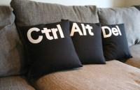 Ctrl Alt Del 16'' black white pillow by GoldenDesignBoutique