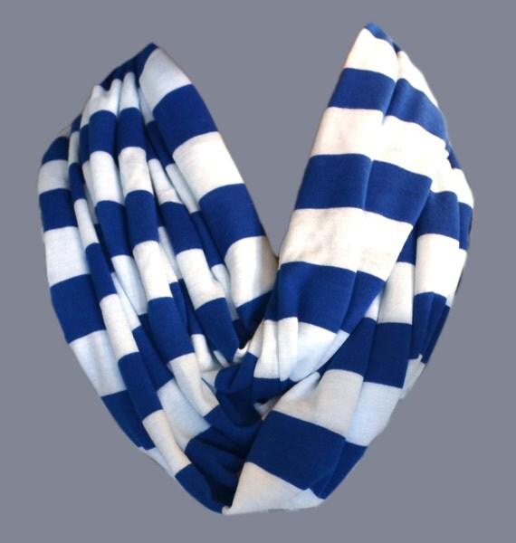 Royal Blue White Stripe Infinity Scarf Jersey Knit Super