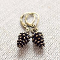 Cute Pine Cone Earrings Autumn Jewelry Antiqued Brass