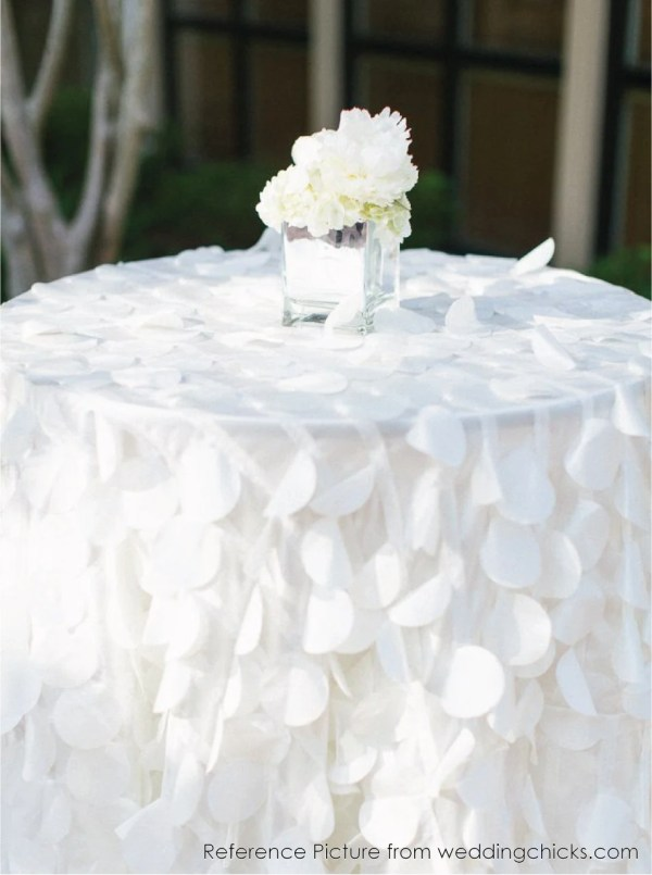Shimmery Petal Tablecloths Order White Taffeta