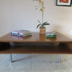 Retro Mid Century Modern Large Coffee Table Curved Rounded Edges Open Bottom Shelf Chrome Legs Haute Juice
