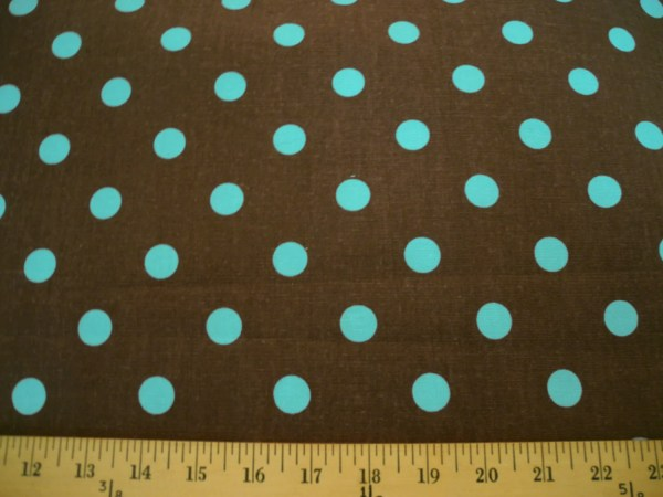 Brown With Blue Polka Dots Cotton Fabric Designbysusantoo