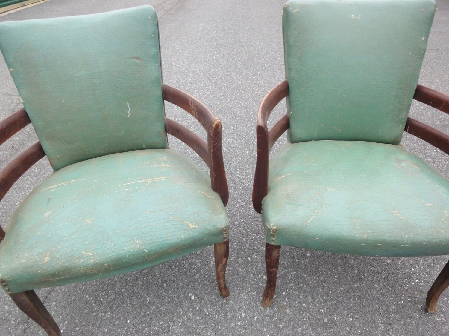 Teal Leather Chair Antique Teal Leather Barrell Chairs 1930 39s