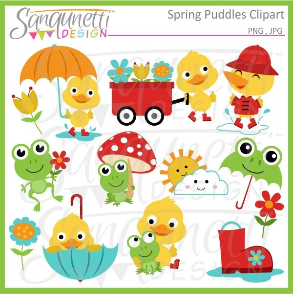 spring frog clipart duck
