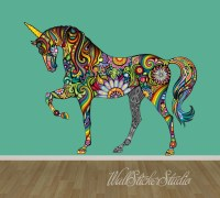 Unicorn Wall Decal Pattern Horse Fabric Wall Decal Stickers