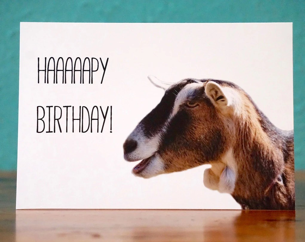 Goat NotecardHappy Birthday Goat 2 Handmade Birthday Card
