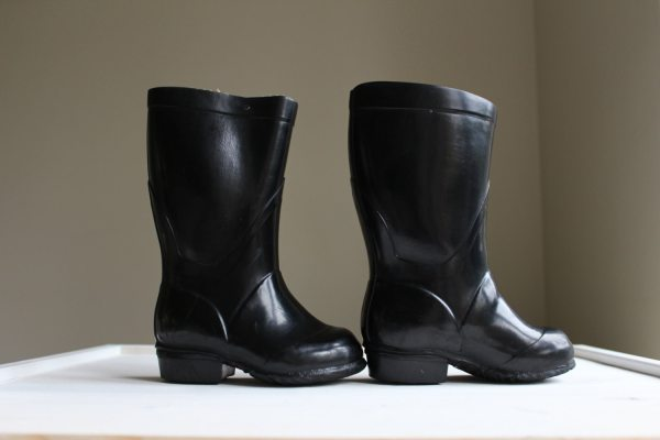 Soviet Toddler Rain Boots Kids Black Rubber Boots with Heel
