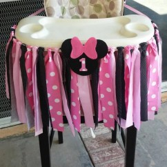 High Chair For Dolls Staples Task Parts Pink Minnie Mouse Fabric Banner By Threelittletots