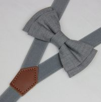 Bow tie suspenderslight Gray boys bow tieswedding grey