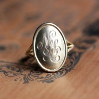 14k gold monogram ring gold initial ring personalized