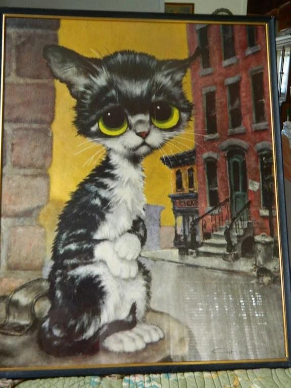 Vintage Gig Keane Cat Big Eyes Pity Kitty 196039s Pop Art