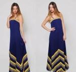 Vintage 70s Chevron Stripe Maxi Dress Navy Blue Sleeveless