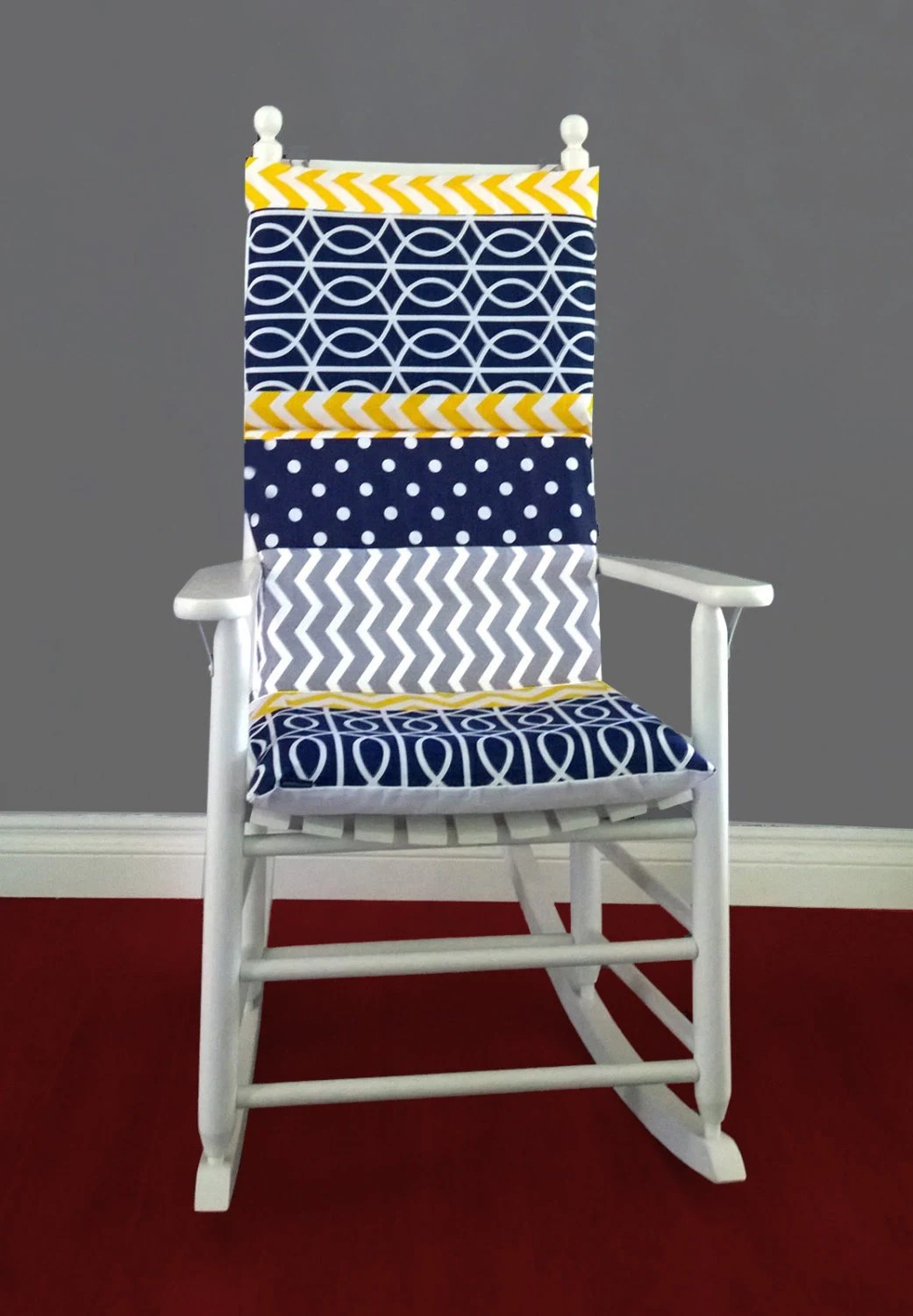 rocking chair cushion covers beach with footrest patchwork cover