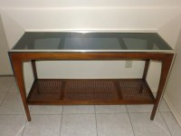 Mid Century Modern Console Table Chrome and Wood with Smoke