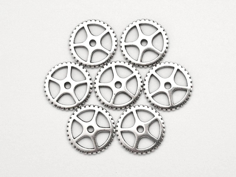 10 Pcs Silver Steampunk Gears Cogs Discs 16 Mm Clock Gear