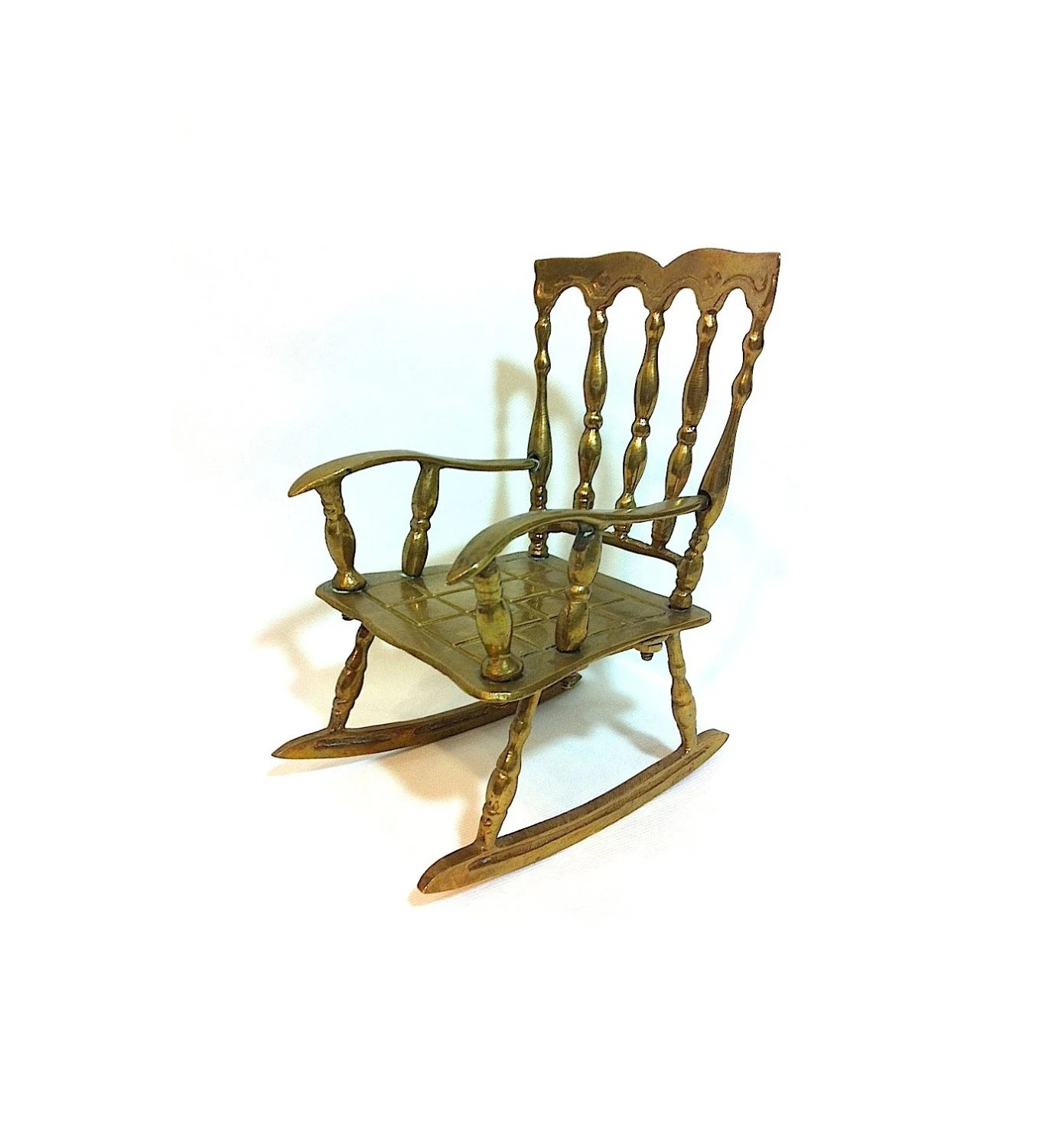 mini rocking chair fishing game set vintage miniature metal doll brass