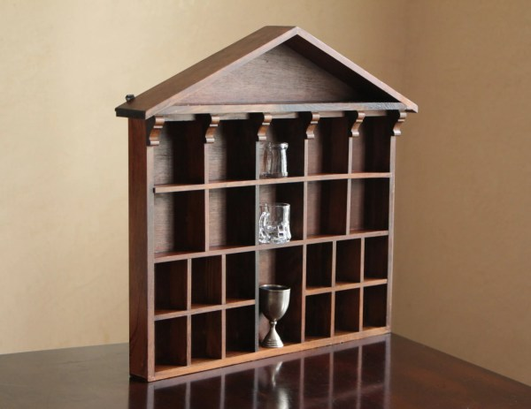 Dark Wood Display Case Vintage Shadow Box With Architectural