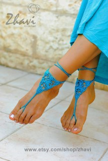 Crochet Barefoot Sandals Beach Wedding Shoes