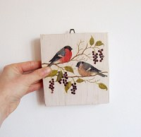 Birds Wall Art Birds Print on Wood Decoupage Kitchen Wall