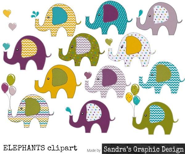 clip art elephants in pretty