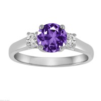 Amethyst & Diamond Three Stone Engagement Ring 14K White Gold