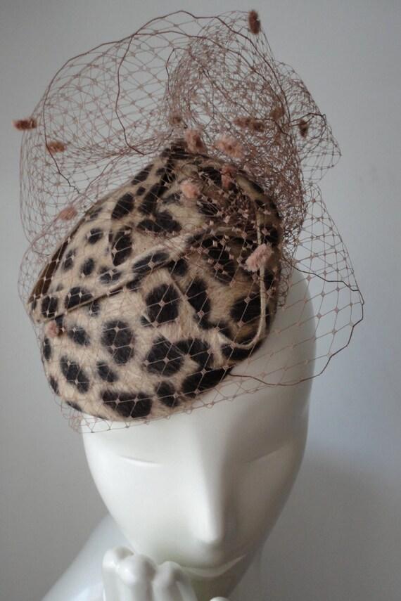 Leopard Print Felt Mini Hat Fascinator