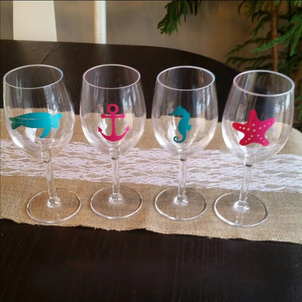 Acrylic Wine Glasses Set Of 4 Nautical Beach 3vintagemamas