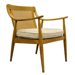 Mid Century Modern Cane Barrel Chairs High On Sale Vintage Walnut Back Lounge Arm