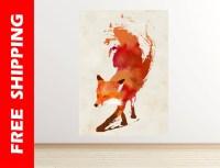 orange fox wall decal nursery fox wall sticker bedroom fox
