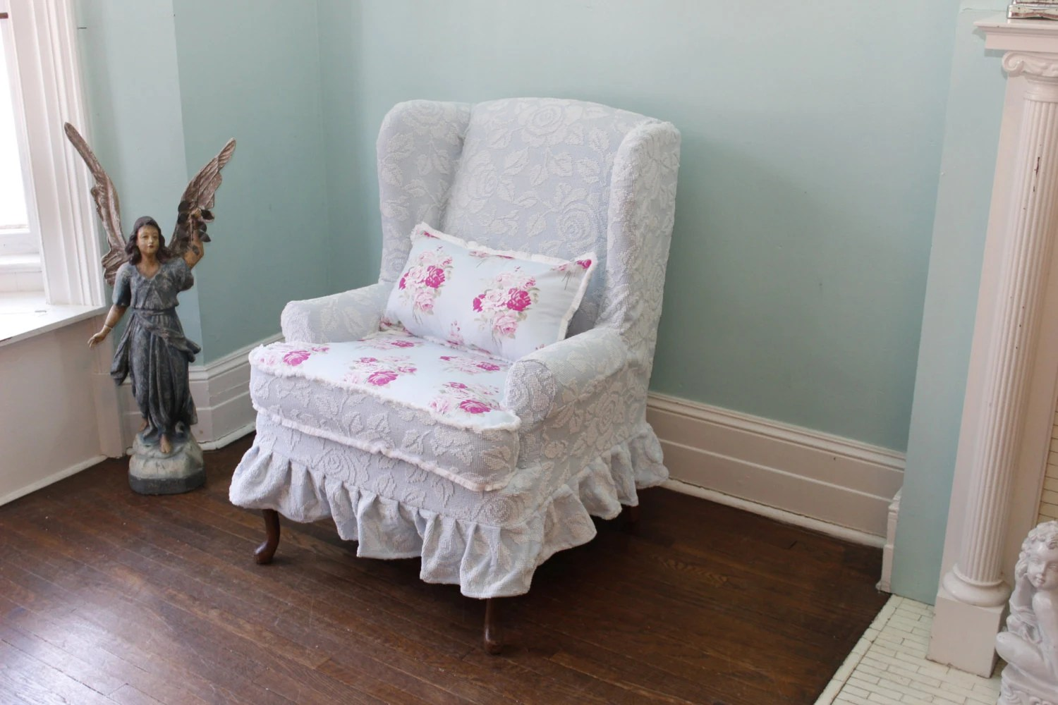 Items similar to slipcovered wingback chair chenille roses