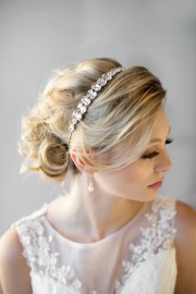 crystal ribbon headband wedding