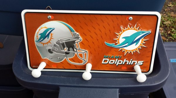Miami Dolphins License Plate Hat Rack Key