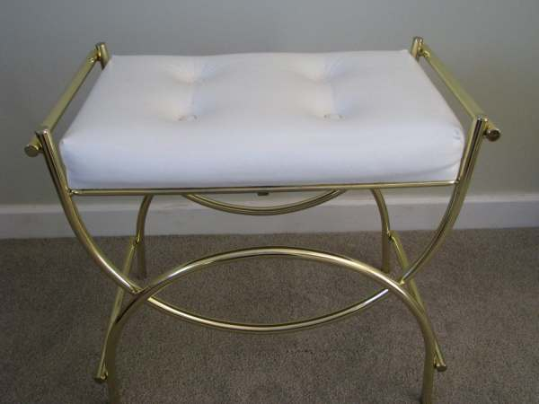 Vintage Brass White Vinyl Padded Vanity Bench Stool Chair