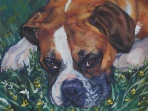 Boxer Dog Portrait Canvas Print Of La Shepard Painting 12x16