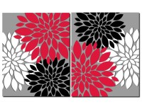 Red Gray Black White Wall Art Prints or Canvas Bathroom Decor
