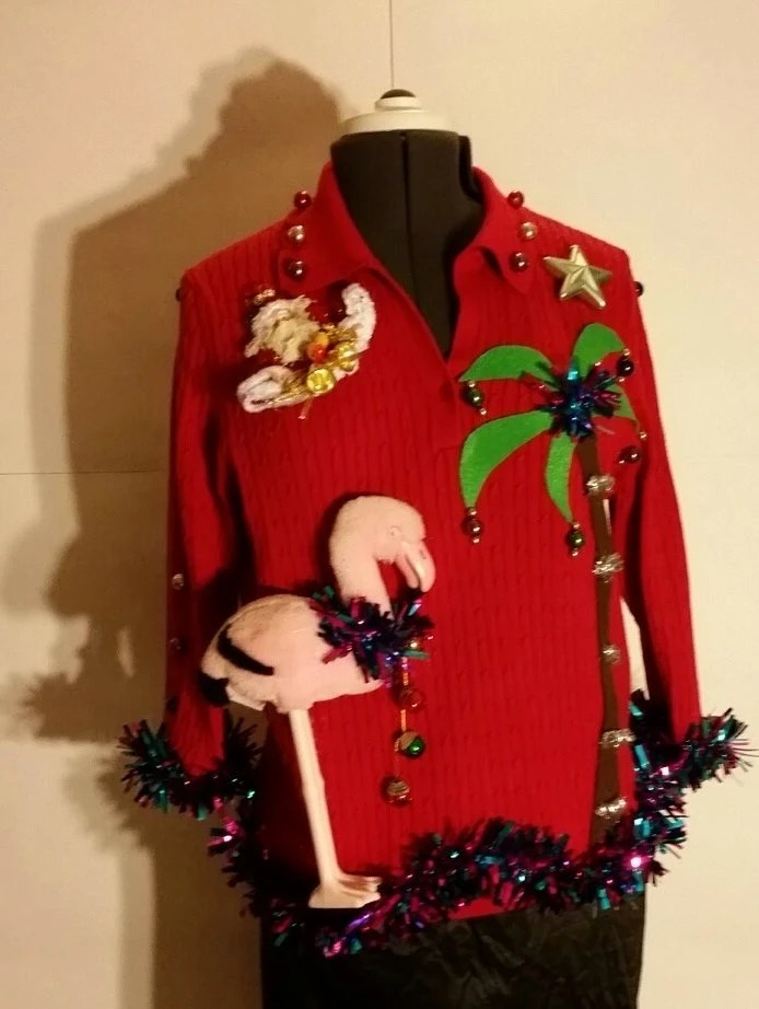 Sale Pink Flamingo Ugly Tacky Christmas Sweater Red Palm