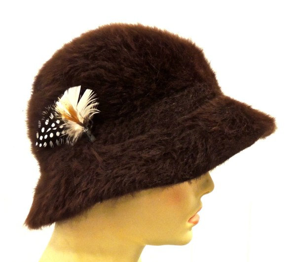 Vintage Fur Hat 1940s-50s Kangol Brown Mink Feathered Bucket