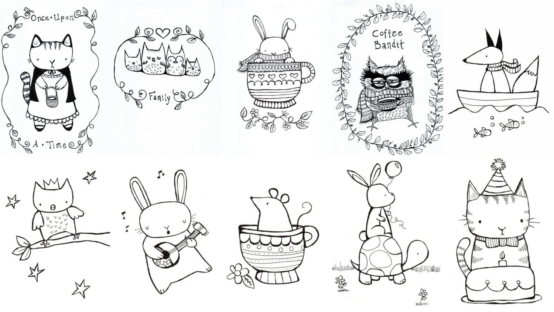 Mini Coloring Book Digital Download Cute Whimsical Animals