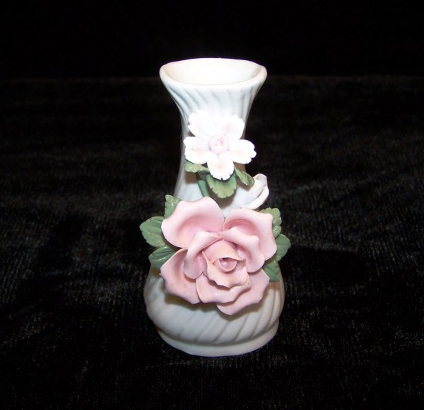 Vintage White Ceramic Bud Vase with Pink Roses
