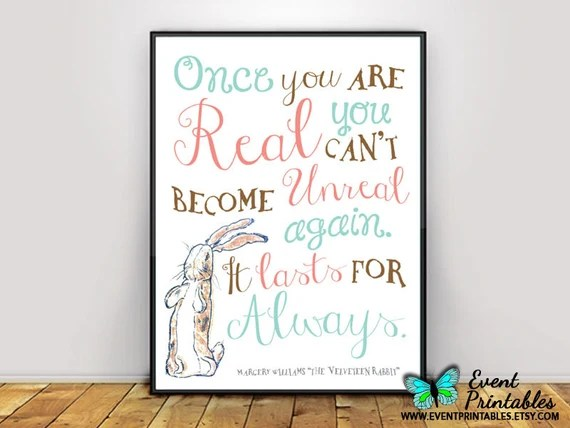 Velveteen Rabbit Quote Wall art - 5 Of our Favorite Children's Rabbit Books and Crafts - Sharing our favorite books and one adorable craft to go with each book. Perfect for Easter and International Rabbit Day.