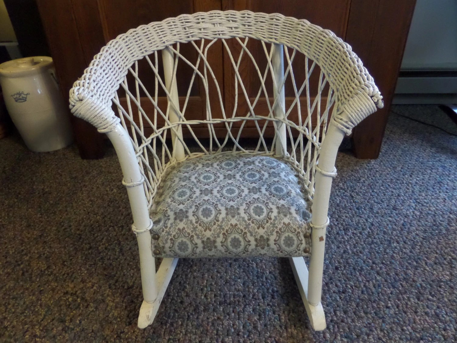 White Wicker Rocking Chair Antique Furniture Child 39s White Wicker Rocking Chair Folk