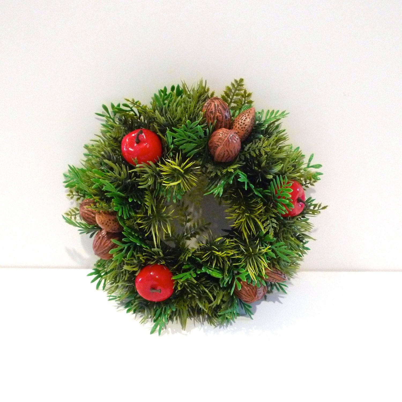 Plastic Christmas Wreath Centerpiece Vintage Candle Wreath 60s