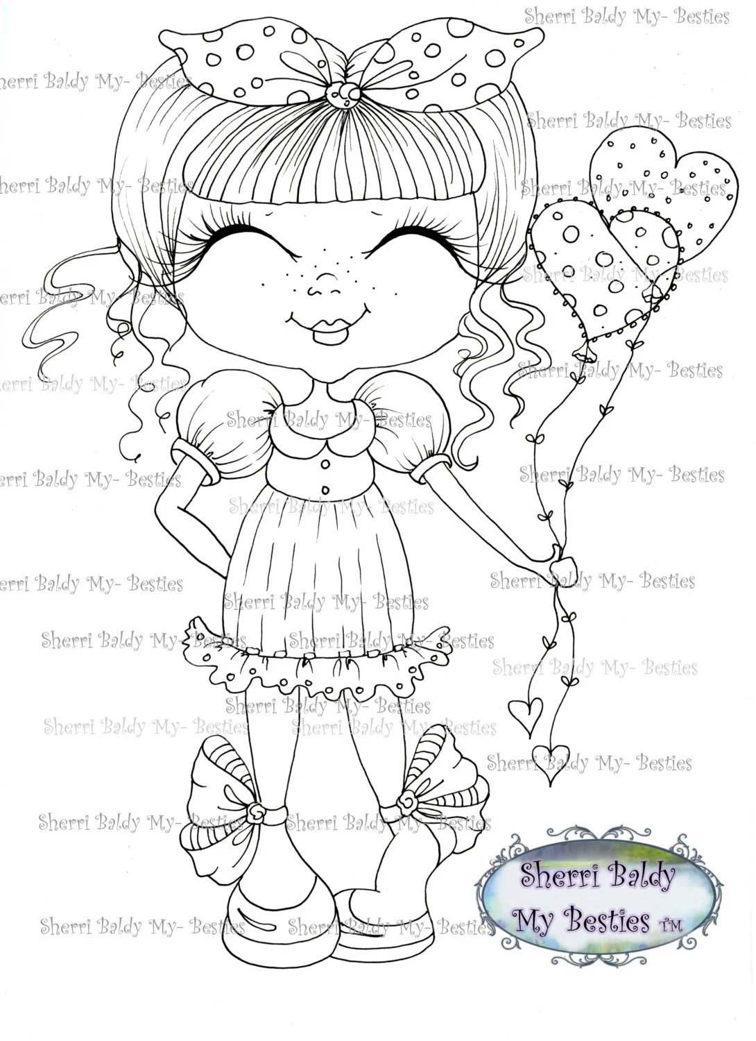 INSTANT DOWMLOAD Digital Digi Stamps Big Eye Big Head Dolls