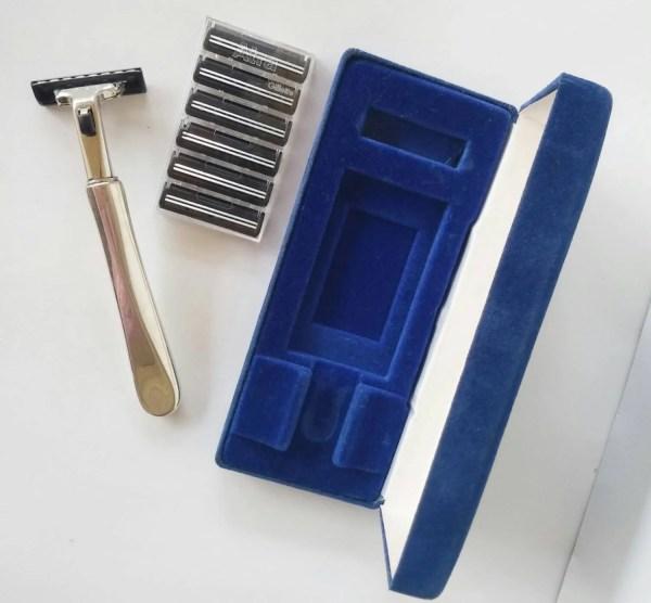 Antique Reed & Barton Sterling Shaver Gillette Atra With Blue