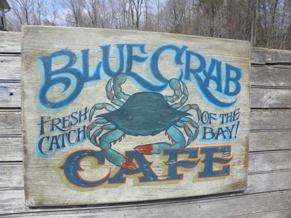 Blue Crab Cafe Sign Wood Original Zfs Zekesantiquesigns