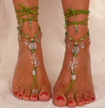Silver Leaf Barefoot Sandals Green Foot Jewelry Hippie