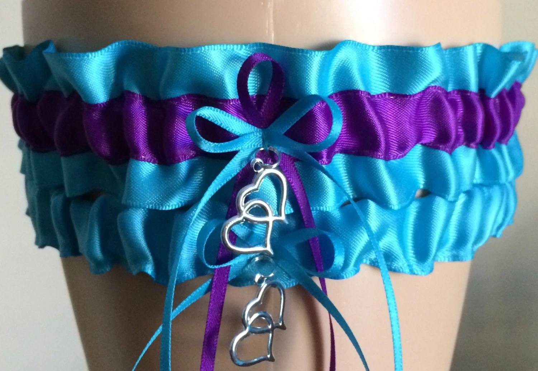 Turquoise and Purple Wedding Garter Set Bridal by JustFunGarters