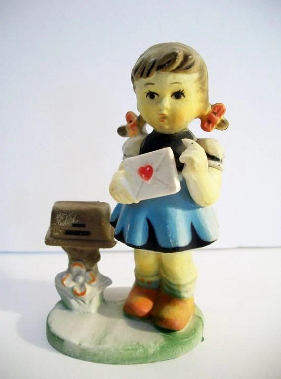 Girl Mailing Love Letter Valentine Figurine Vintage Hong Kong