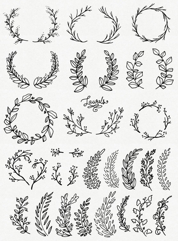 CLIP ART: Whimsical Laurels & Wreaths // Photoshop Brushes