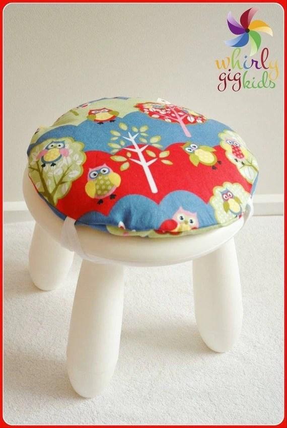 chair cushions with ties ikea sash rental round stool cushion hoot children/kids for